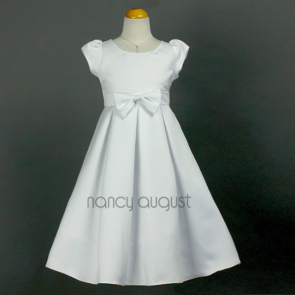 Photo: #Sweet and #Simple White #FlowerGirl Dress: This white flower girl dress is sweet and simple. It's a #sophisticated choice for all the #classy little girls who don't fancy the frilly puffy dresses. The simple style of this flower girl dress will allow for this dress to be worn to many different occasions. Additionally, this dress is made with the sensational matte #satin featuring a dainty cap sleeve, modest waistline with a center bow, and a streamlined pleated A-line skirt. What's not to love?