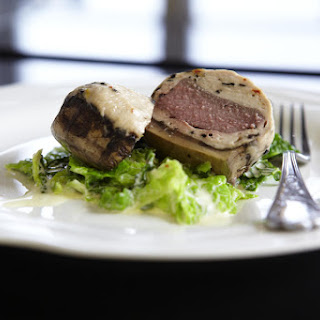 Vension and Veal Stuffed Portobellos with Savoy Cabbage