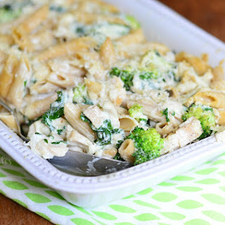 Lightened Spinach & Broccoli Chicken Alfredo Bake