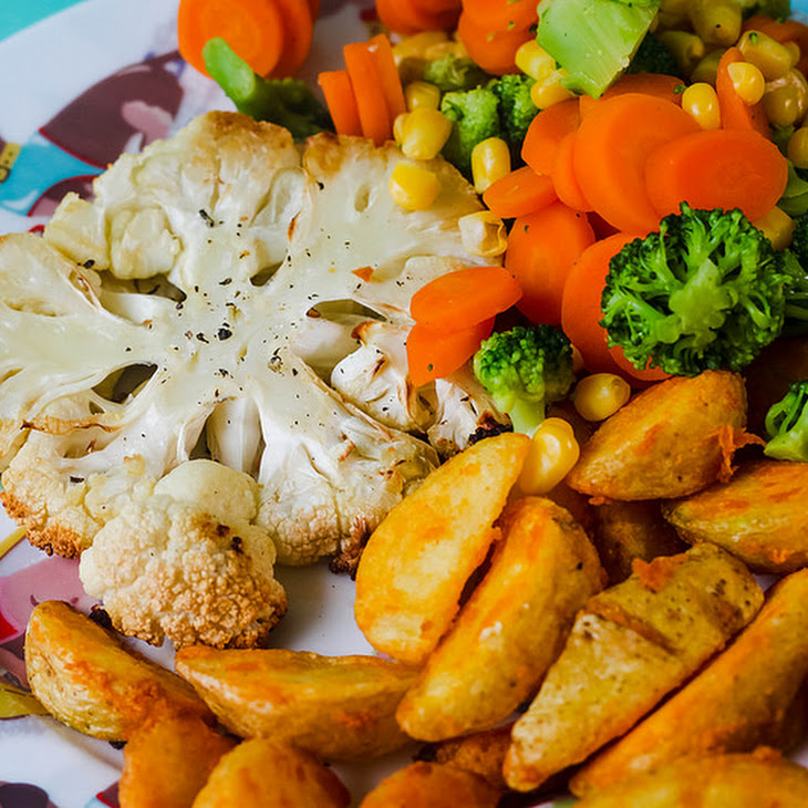 Roasted Cauliflower Steak & Chips