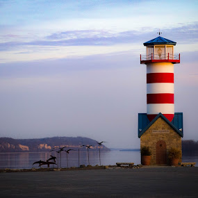 Lighthouse at Sunset by Lori Louderback - Buildings & Architecture Other Exteriors
