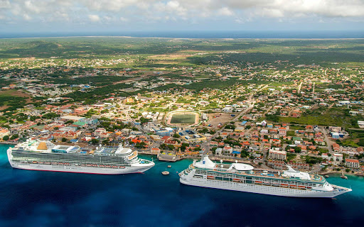 bonaire-cruise-ships.jpg - Cruise ships from P&O and Royal Caribbean moor in Kralendijk during a visit to Bonaire.
