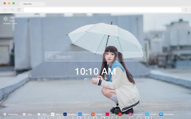 Cat girl HD wallpaper pop new tab page theme
