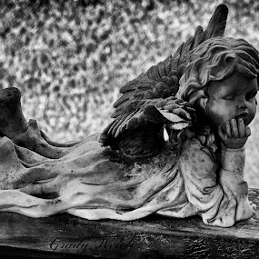 Stone Angel in Black and White by Grady  Welch - Black & White Objects & Still Life ( black & white, b&w, white, grass, old, black, wood, angel, stone )