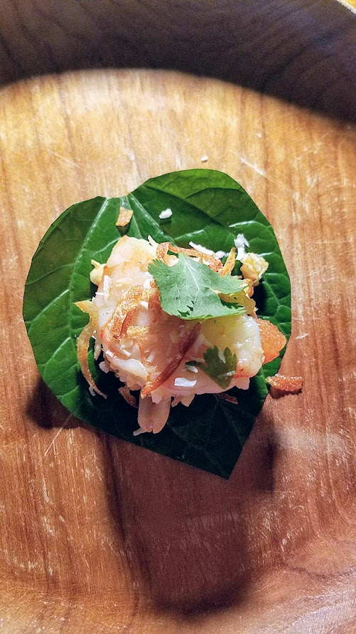 Journey of a Dinner at LangBaan with their May 2017 Tour of Thailand menu: Miang som-O, a snack of Grapefruit, shrimp, shallot, chili, lime, ginger in roasted coconut sauce, betel leaf