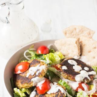 Spinach Almond Falafel Salad + Vegan Garlic Mayo Dressing