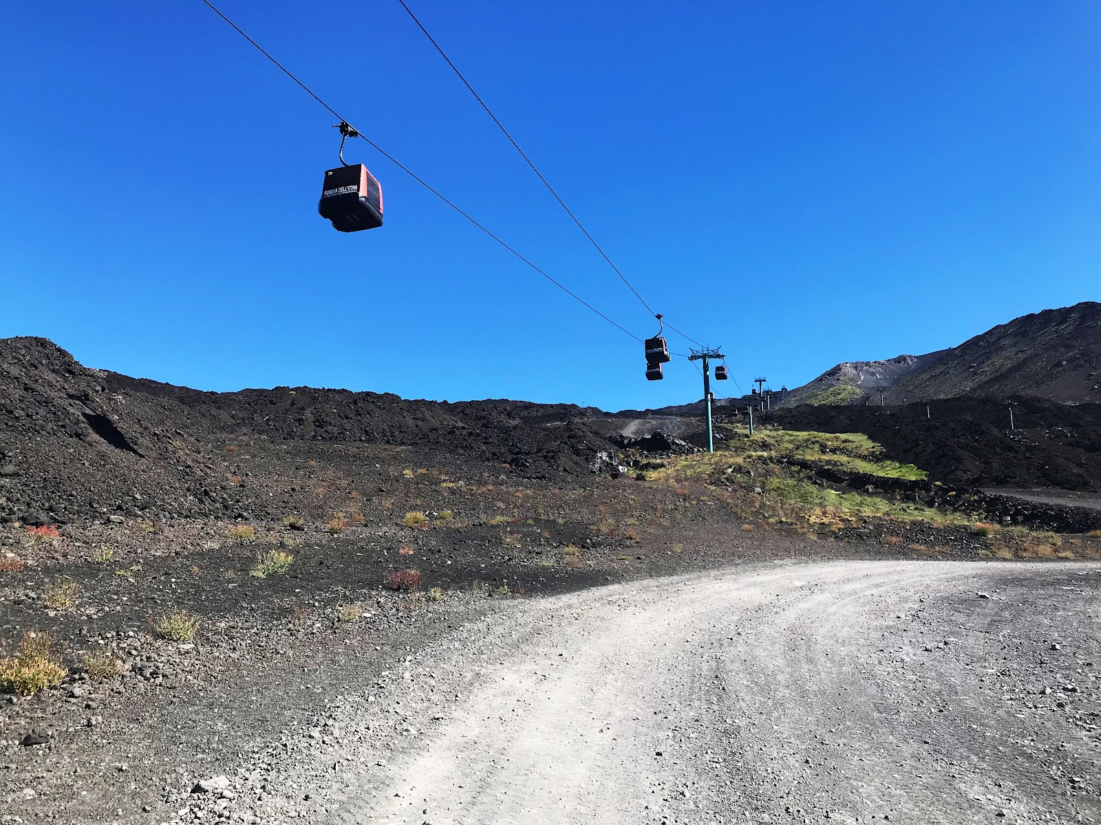 Gondola on Mount Etna during our bike climb to the summit