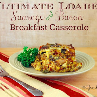 Loaded Sausage & Bacon Breakfast Casserole.