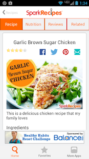 Healthy Recipes - SparkRecipes - screenshot thumbnail