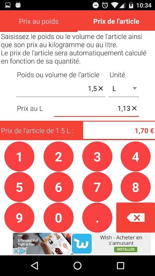 Calcul prix au kg ou au litre android apps on google play - Tollens prix au litre ...