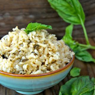 Roasted Garlic-Basil Brown Rice