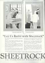 Photo: Sheetrock ad. Ads for metal lath also stressed the fact that it was fireproof.