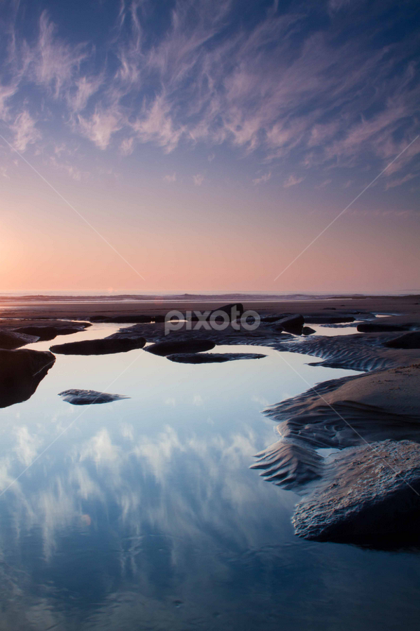 Sunset at Southerdown Beach, South Wales by Craig Williams - Landscapes Waterscapes ( southerndown, wales, sunset, reflections, rock, beach, pools )