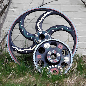 Wheels by Cliff Oakley - Artistic Objects Other Objects ( cogs, industrial, sussex, wheels, hampshire )