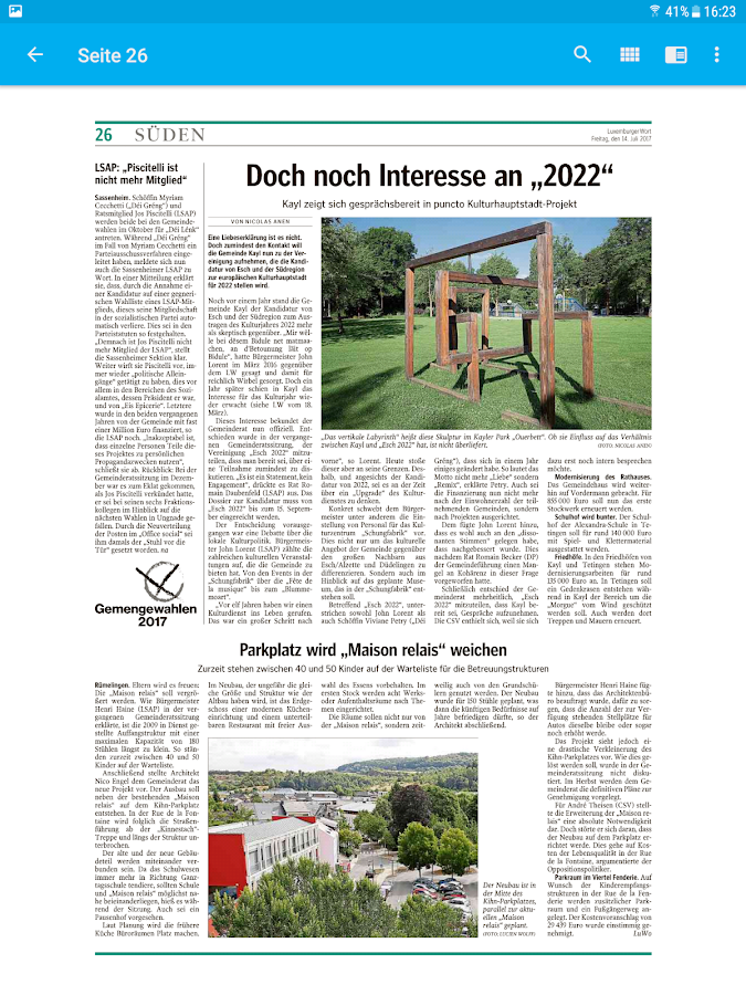 Luxemburger Wort E-Paper- screenshot
