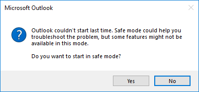 Open Outlook 2016 in Safe Mode