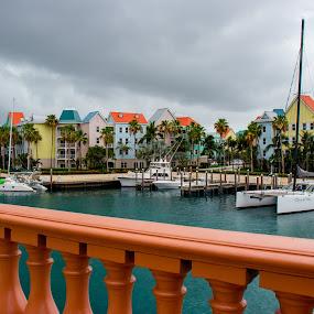 Colorful Condos 2 by Debbie Jones - Landscapes Travel ( condos, paradise island, nassau, atlantis, bahamas )
