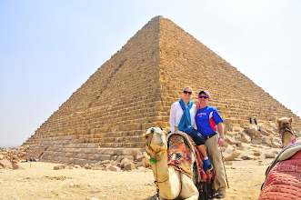 Photo: us with camel in front of Pyramid of Menkaure