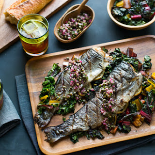 Grilled Rainbow Trout and Rainbow Chard with Citrus Caper Relish.