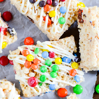 White Chocolate Rice Krispies Treats with M&Ms.