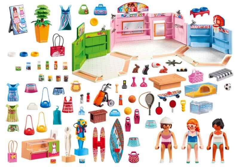 Contenido real de Playmobil® 9078 Paseo Comercial con 3 Tiendas