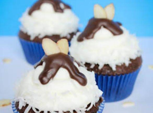 Dark Chocolate Almond Joy Cupcakes