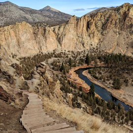 Smith Rock Stairs by Michael Herbst - Instagram & Mobile Android ( rock, mountain, tree, dry, hike, oregon )