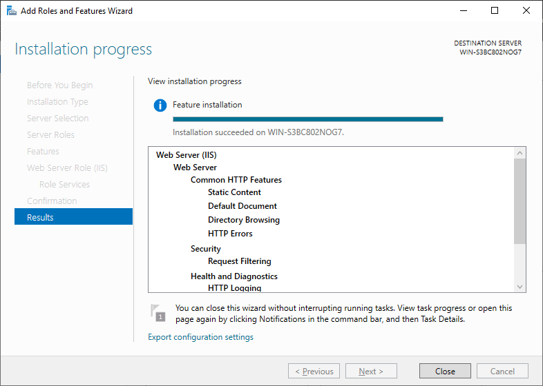 IIS Installation Progress - Windows Server 2019