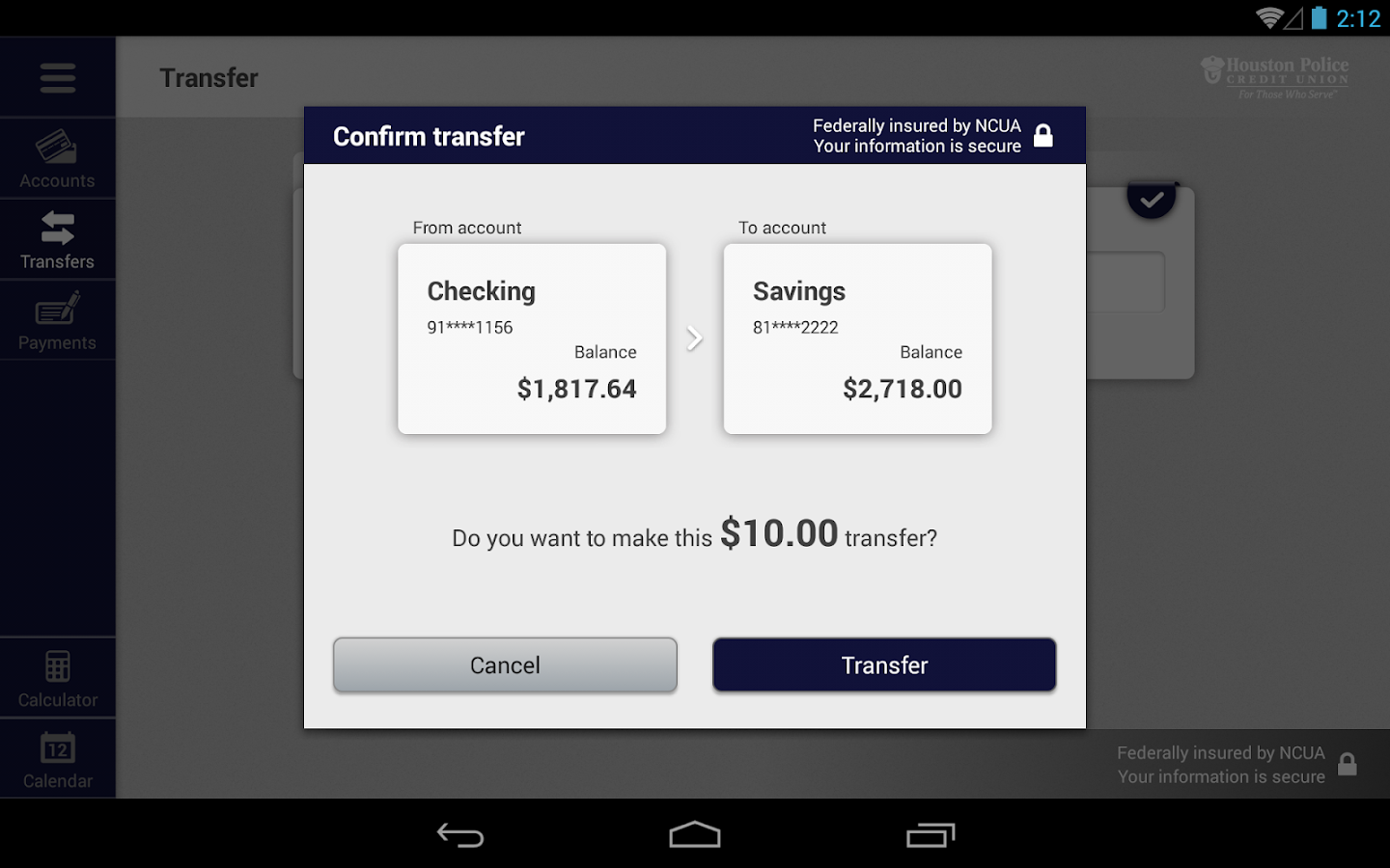HPCU Mobile Banking for Tablet- screenshot