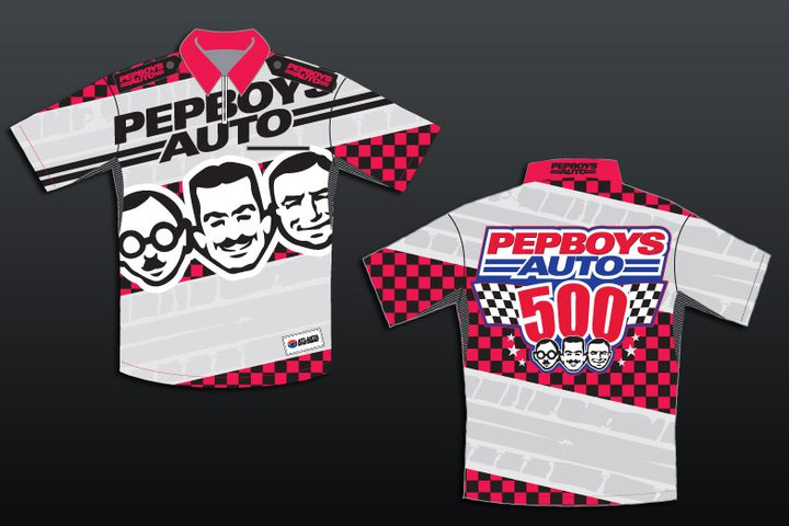 Photo: Pep Boys - One of the largest auto parts stores in the world, Pep Boys, wanted to enhance their apparel presence on the race track with their sponsored Nascar. [ 2 one 5 ] Creative® jumped to the challenge to design a shirt and hat that look like nothing else out on the track. Upholding the brand's tradition, [ 2 one 5 ] Creative® designed the apparel to match the brand's storied history and achievements.