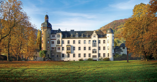 Schloss Burg Namedy, the home of Princess Heide von Hohenzollern, in Andernach, Germany, built in the 14th century along the Rhine River.