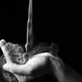 The symbol of love by Aditya Singh - Abstract Fine Art ( hand, love, black and white, art, smoke )