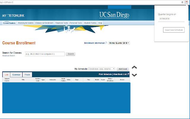 Get class schedule from webreg