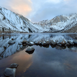 Convict lake by Dan Pham - Landscapes Mountains & Hills ( mountains, reflection, snow, cold, lake, morning )