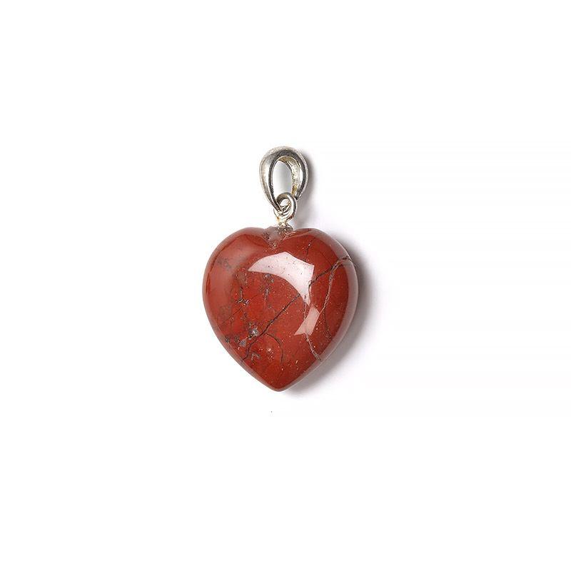 Röd jaspis, hänge kristallhjärta