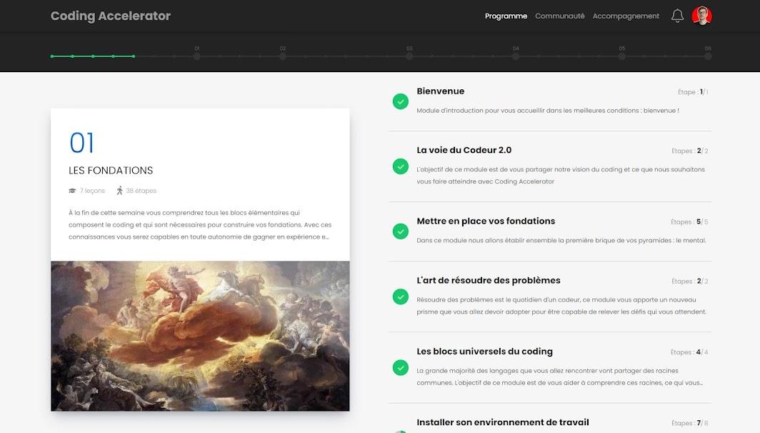 Interface d'une formation avec SchoolMaker