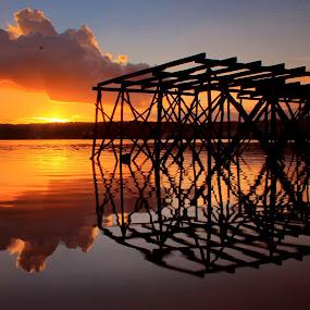 Reflection of sunset by Wahid Hasyim - Buildings & Architecture Bridges & Suspended Structures ( seasccape, sunset, shiluette, landscape,  )