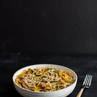 Garlic Soba and Zucchini Noodles.