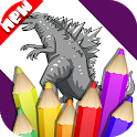 Coloring Godzilla And Dinosaur Book icon