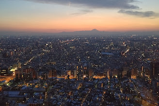 Photo: Mt. Fuji after sunset at Municipal Government Tower.