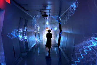 Photo: Dreams in High Fidelity II, by Scott Draves. Triple projection at 3LD Manhattan 2009.  Photo by Mike Este.