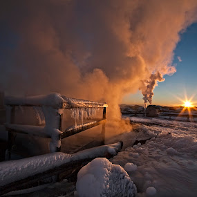 Power sunrise by Þorsteinn Ásgeirsson - Landscapes Sunsets & Sunrises ( ice candles, cold, ice, frost, mood, ray of light, solar, sunrise, steam, geothermal areas )
