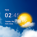 Transparent clock and weather - forecast and radar icon