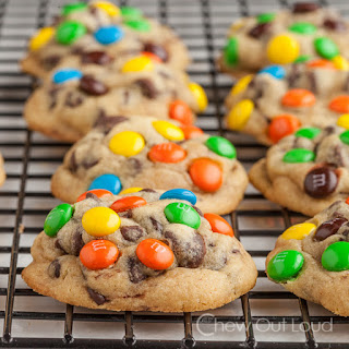 Chewy M&M Chocolate Chip Cookies