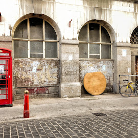 London Red by Russ Quinlan - City,  Street & Park  Street Scenes ( red, london, britain, street, british, travel, phone booth )