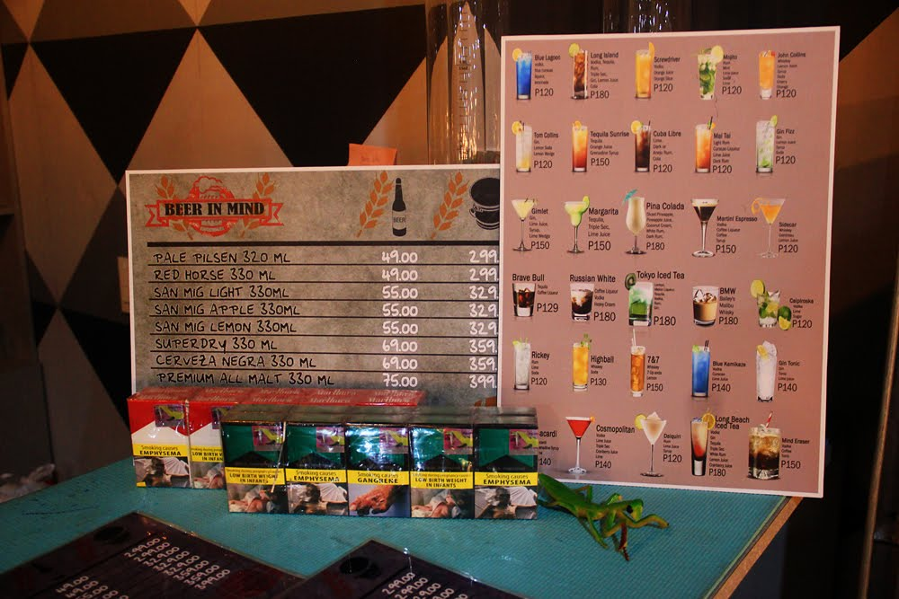 Bar n Bottles Menu