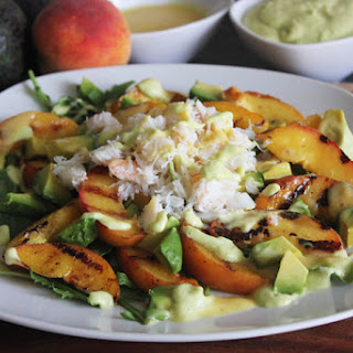 Grilled Peach, Avocado, and Crab Salad with Avocado & Peach Dressing