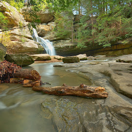 Cedar Falls by Bud Schrader - Landscapes Caves & Formations ( waterfalls, ohio, waterscape, hockinghills, cedar falls )