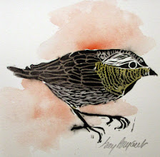 Photo: Little Sparrow block print--hand colored