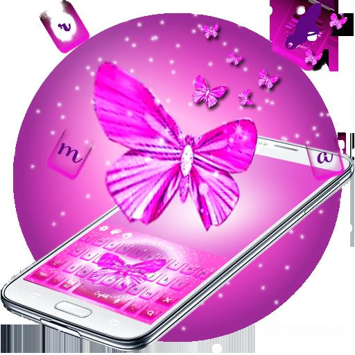 Pink Girl Bow Keyboard Theme